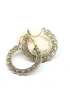 Boucles d'oreilles créoles en laiton - Mosaik bijoux indiens