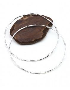 Grande créole argentée - Mosaik bijoux indiens