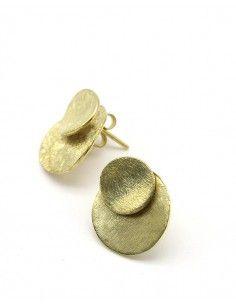 Boucles d'oreilles rondes en laiton brossé - Mosaik bijoux indiens