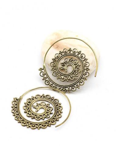 Boucles d'oreilles spirales travaillées en laiton - Mosaik bijoux indiens