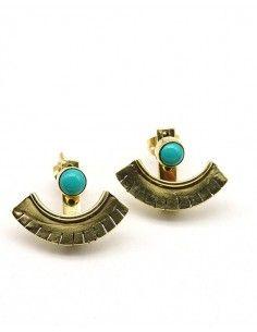 Clous d'oreilles en laiton et turquoise - Mosaik bijoux indiens