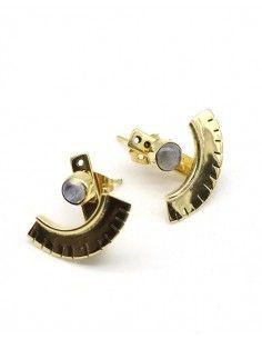 Clous d'oreilles laiton et pierre de lune - Mosaik bijoux indiens