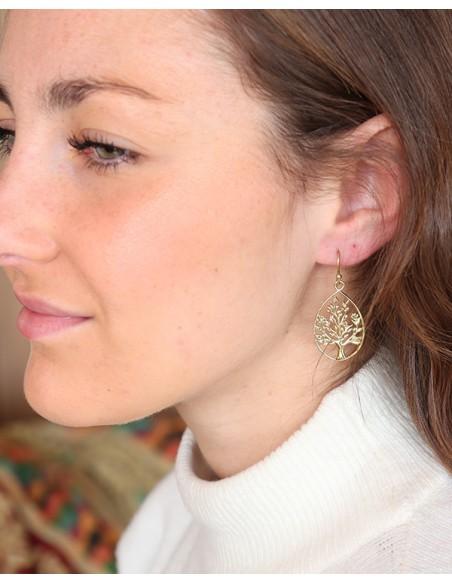 Boucles d'oreilles pendantes arbre de vie dorées - Mosaik bijoux indiens