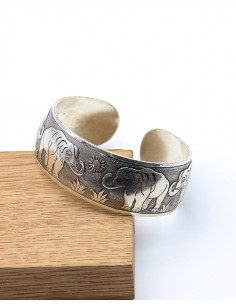Bracelet ethnique éléphant argenté - Mosaik bijoux indiens