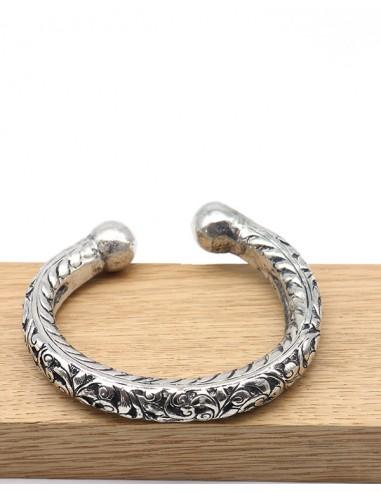 Bracelet ethnique argenté travaillé - Mosaik bijoux indiens