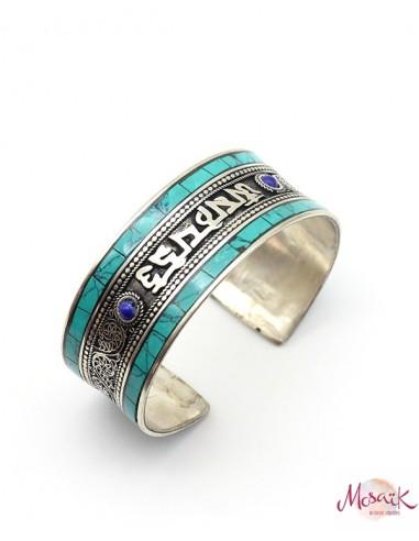Bracelet ethnique argenté et turquoise - Mosaik bijoux indiens