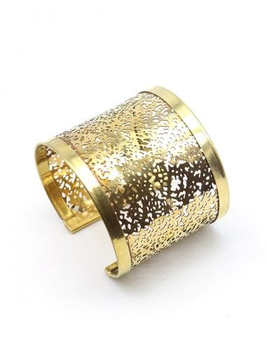 Manchette dorée en laiton aérée - Mosaik bijoux indiens