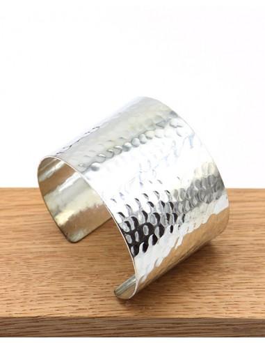 bracelet large martelé argenté - Mosaik bijoux indiens