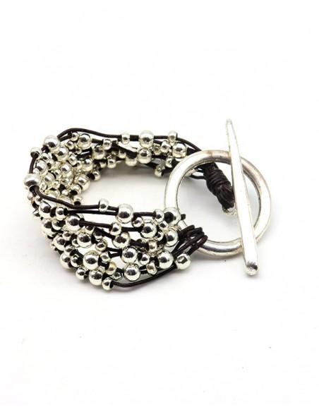 Gros bracelet à perles argentées en similicuir - Mosaik bijoux indiens