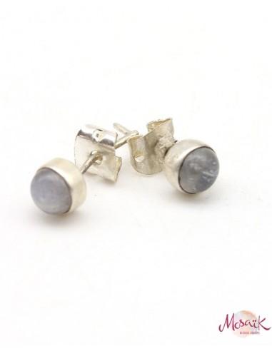 Boucles d'oreilles argent et pierres de lunes rondes