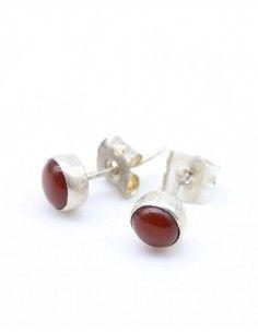 Boucles d'oreilles argent et cornalines rondes