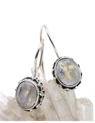Boucles d'oreilles argent travaillées et pierre de lune