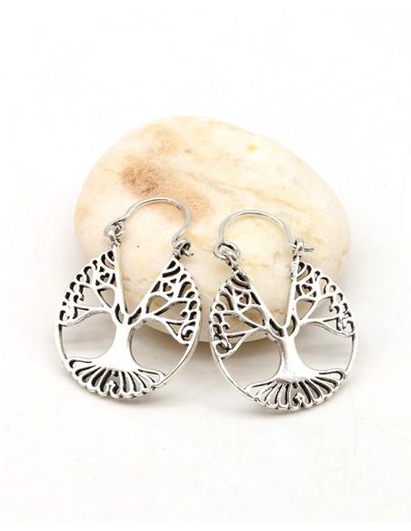 Boucles d'oreilles arbre de vie argentées