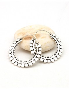 Boucles d'oreilles créoles argentées - Mosaik bijoux indiens