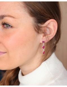 Boucles d'oreilles argent et 3 rubis indiens 2