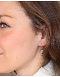 Boucles d'oreilles argent travaillées et pierre de lune 2