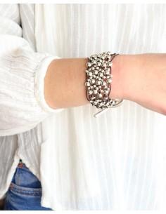 Gros bracelet à perles argentées en similicuir - Mosaik bijoux indiens 2