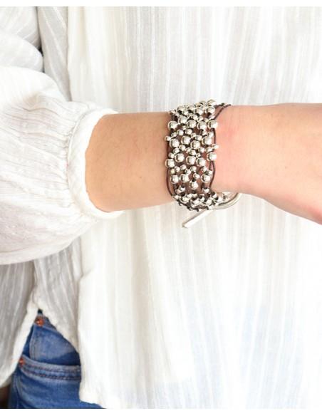 bracelet large avec boucle - Mosaik bijoux indiens