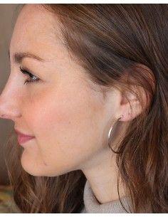 Boucles d'oreilles créoles fines argentées - Mosaik bijoux indiens 2