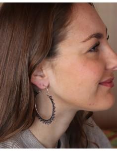 Boucles d'oreilles créoles ethniques argentées - Mosaik bijoux indiens 2