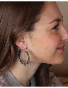 Boucles d'oreilles créoles indiennes argentées - Mosaik bijoux indiens 2
