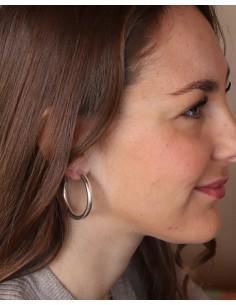 Boucles d'oreilles créoles épaisses plaqué argent - Mosaik bijoux indiens 2