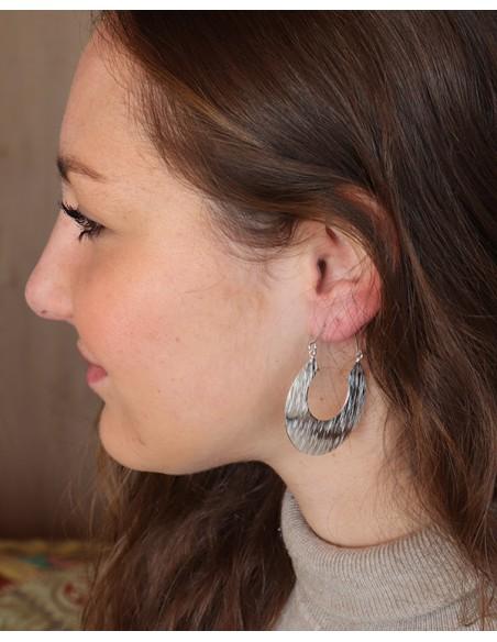 Boucles d'oreilles plates argent brossé - Mosaik bijoux indiens