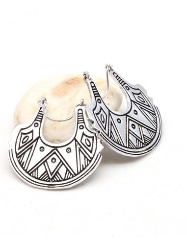 Boucles d'oreilles argentées symboles géométriques