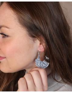 Boucles d'oreilles argentées symboles géométriques 2