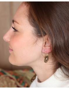 Petites boucles d'oreilles créoles rondes en laiton - Mosaik bijoux indiens 2
