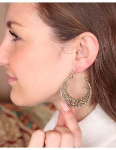 Boucles d'oreilles en laiton motifs fleurs - Mosaik bijoux indiens 2