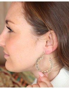 Boucles d'oreilles créoles en laiton - Mosaik bijoux indiens 2