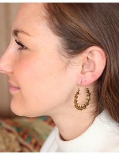 Créoles fines travaillées dorées - Mosaik bijoux indiens 2