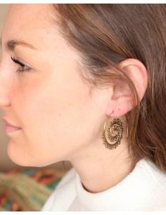 Boucles d'oreilles spirales travaillées en laiton - Mosaik bijoux indiens 2