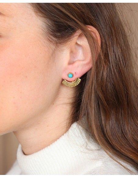 Clous d'oreilles articulés en turquoise et dorés