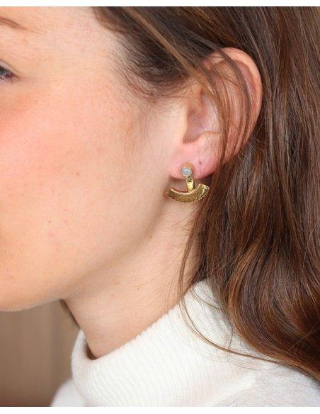 Boucles d'oreilles clous dorées et pierre de lune - Mosaik bijoux indiens