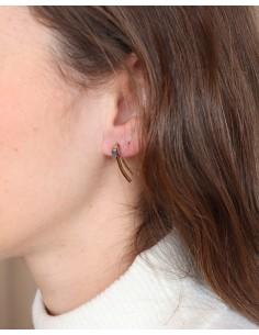 Clous d'oreilles fins en laiton et labradorite - Mosaik bijoux indiens 2