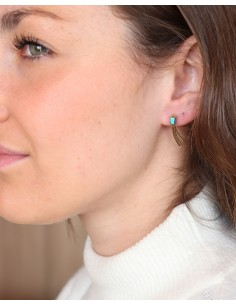 Clous d'oreilles fins en laiton et turquoise - Mosaik bijoux indiens 2