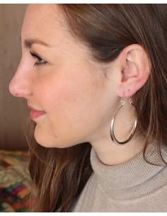 Boucles d'oreilles créoles épaisses argentées 2