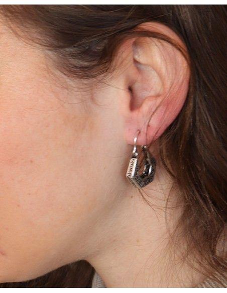 Petites boucles d'oreilles créoles géométriques - Mosaik bijoux indiens