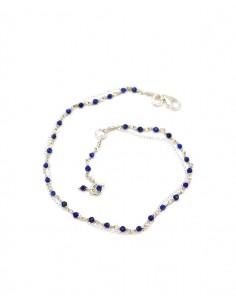 Chaîne de cheville argent fine et lapis lazuli