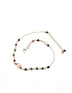 Bracelet de cheville argent pierres semi précieuses et quartz rose