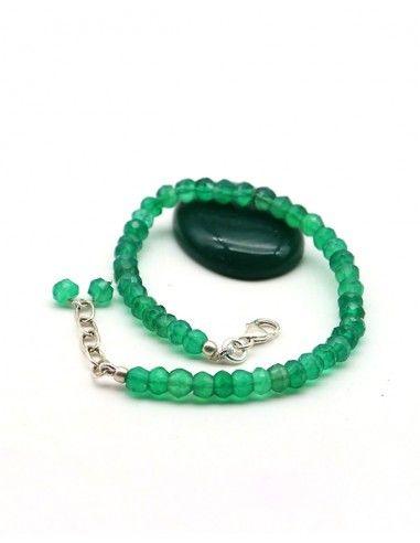 Bracelet agate verte pierres taillées et argent