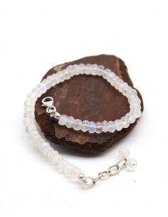 Bracelet pierre de lune taillée - Mosaik bijoux indiens