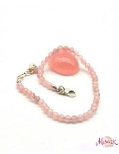 Bracelet quartz rose en pierres taillées et argent