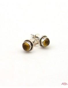 Boucles d'oreilles ambre en argent - Mosaik bijoux indiens