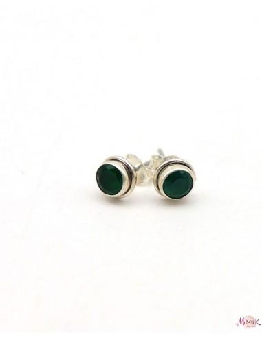 Boucles d'oreilles agate verte en argent - Mosaik bijoux indiens