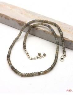 Collier labradorite en pierres taillées et argent