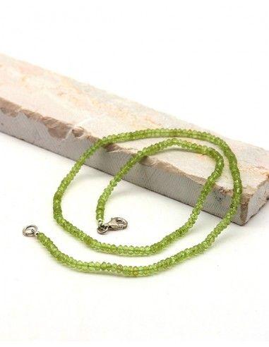 Collier péridot pierres taillées - Mosaik bijoux indiens