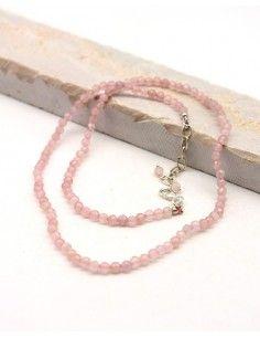 Collier quartz rose pierres taillées et argent